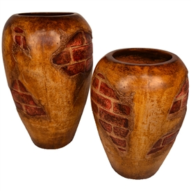 Pictured here is the handcrafted ceramic Backstreet Floor Urns, sold as a set of 2 - small and large