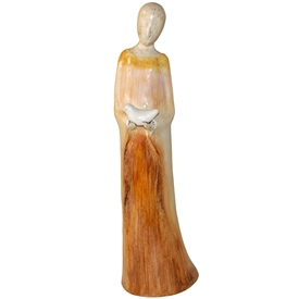 Pictured here is the handcrafted ceramic Primavera Lady sculpture which measures 7 inches long by 28 inches wide by 6 inches high.