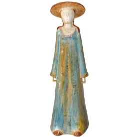 Pictured here is the handcrafted Lady with Hat Ceramic Sculpture which measures 7 inches long by 6 inches wide by 25 inches high.