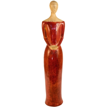Pictured here is the handcrafted Tall Lady Ceramic Sculpture which measures 13 inches long by 9 inches wide by 61 inches high.