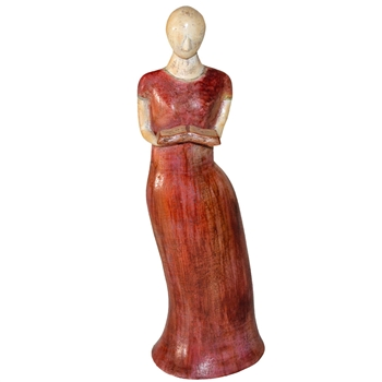 Pictured here is the handcrafted Lady with Open Book Ceramic Sculpture which measures 8 inches long by 6 inches wide by 24 inches high.