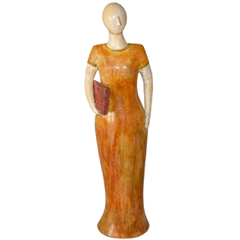Pictured here is the handcrafted Lady Sculpture with Book Underarm which measures 8 inches long by 6 inches wide by 24 inches high.