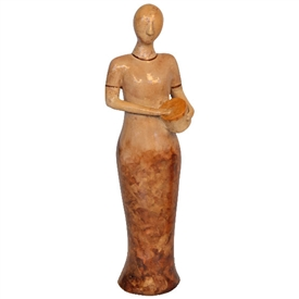 Pictured here is the handcrafted ceramic Lady with Drum sculpture which measures 6 inches long by 6 inches wide by 23 inches high.