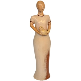 Pictured here is the handcrafted ceramic Primavera Lady Small sculpture which measures 6 inches long by 6 inches wide by 23 inches high.