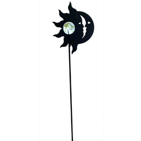 Wrought Iron Sun -Moon Marble Garden Stake