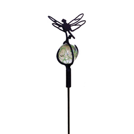 Wrought Iron Dragonfly - Marble Garden Stake