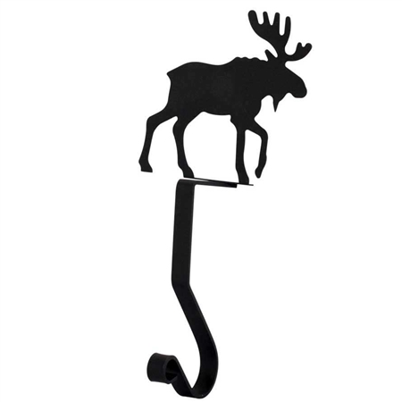 Pictured here is the Black Metal Stocking Holder with a decorative Moose Silhouette.