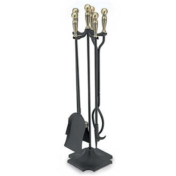 Pictured is the Square Base 5 Piece Fireplace Tool Set  manufactured by Minuteman