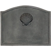 Pictured here is the Small Shell Cast Iron Fireback that measures 19-1/2-inch x 15-1/2-inch