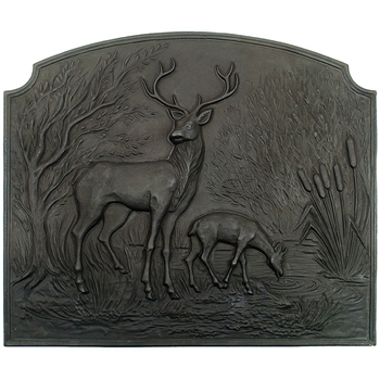 Pictured here is the Cast Iron Deer Fireback that measures 28-1/4-inch x 24-1/4-inch