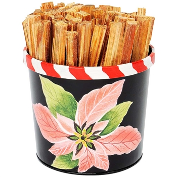 Pictured here is the Hand Painted Fatwood Carrier which Includes 4 pounds of kindling