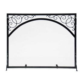 Pictured here is the Sterling Large Hearth Screen with Scrolls and Rope Detail.