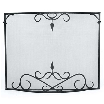 Pictured here is the Large Curved Bostonian Hearth Screen with black finish measuring 44 x 33.