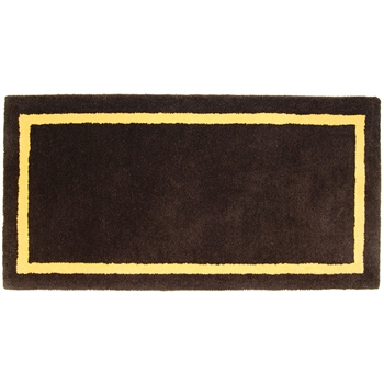 Pictured is the Minuteman Deep Taupe Rectangular Hearth Rug that measures 44-inch x 22-inch and meets CPSC Standard FF1-70 for flammability of carpets.
