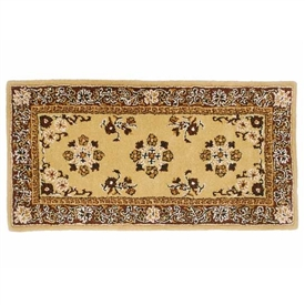 Pictured is the 44 inch x 22 inch Durable Rectangular Hearth Rug in Beige manufactured in America by Minuteman.