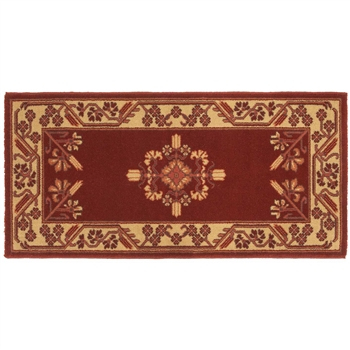 Pictured is the 44 inch x 22 inch Red Vermillion Wool Minuteman Fireplace Rug manufactured in America by Minuteman.