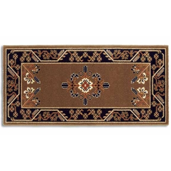 Pictured is the 44 inch x 22 inch Minuteman Rectangular Wool Cocoa Hearth Rug manufactured in America by Minuteman.