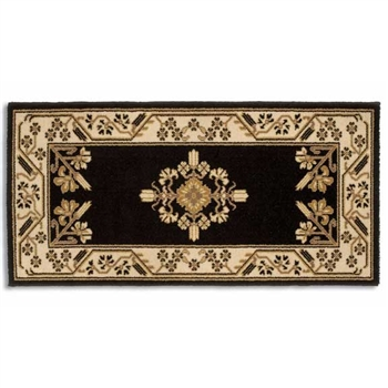 Pictured is the 44 inch x 22 inch Noir Rectangular Minuteman Fireplace Rug manufactured in America by Minuteman.