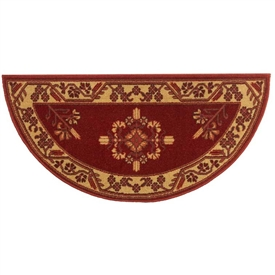 Pictured is the 44 inch x 22 inch Minuteman Vermillion Half Round Red Hearth Rug manufactured in America by Minuteman.