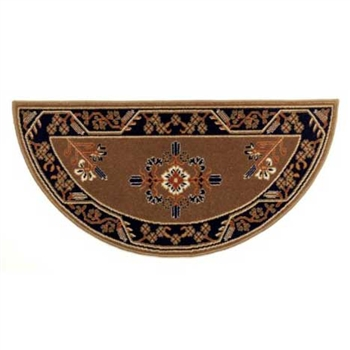 Pictured is the 44 inch x 22 inch Half Round Minuteman Cocoa Fireplace Rug manufactured in America by Minuteman.