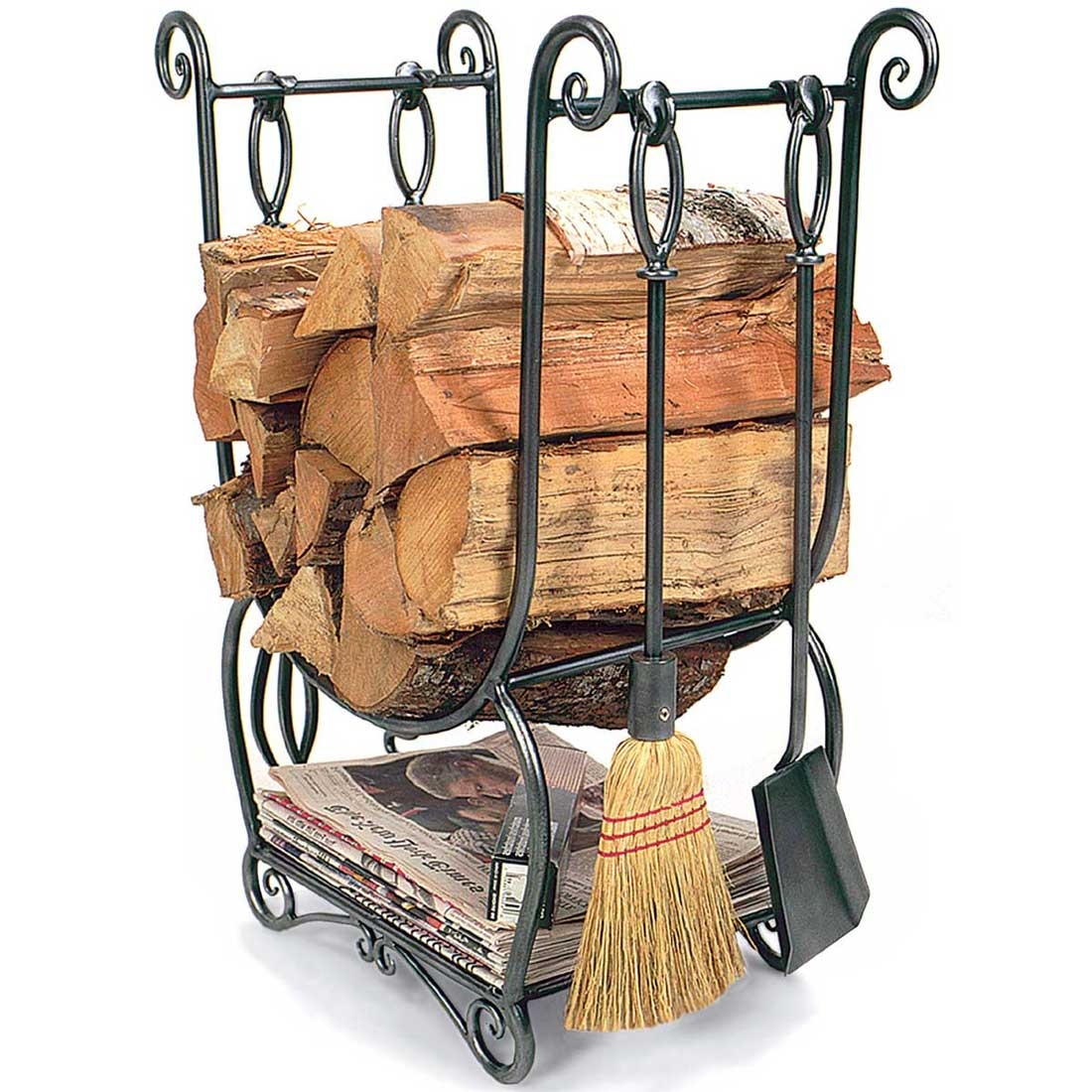 The Country Hearth Wood Holder and fireplace tool set does it all. Store your wood