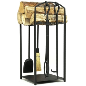 Pictured is the Mission II Fireplace Tool Set and Wood Holder  manufactured by Minuteman