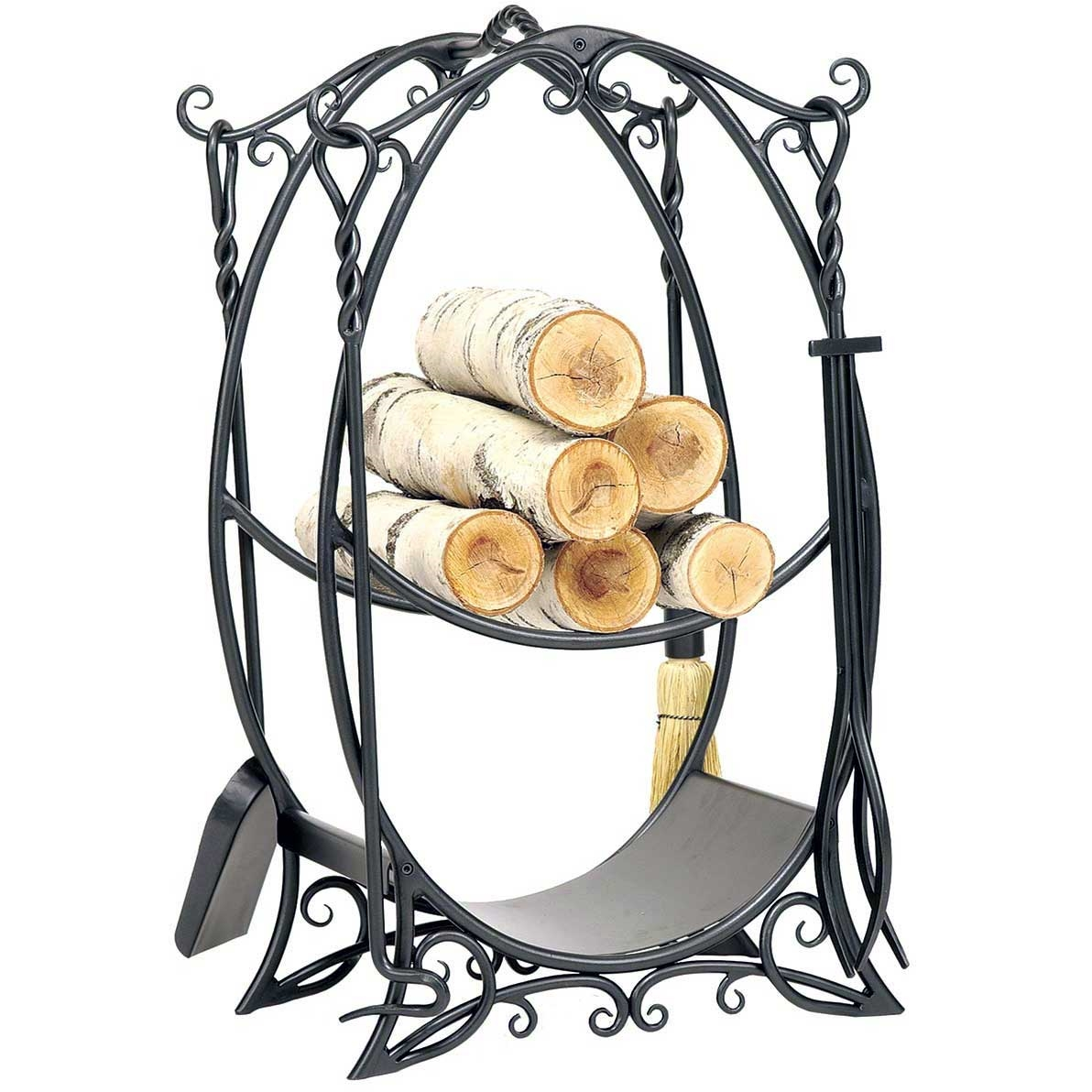 This 4 Tool Cottage Fireplace Tool Set and Wood Holder displays quality craftsmanship for lasting durability. Shop hearth accessories from Timeless Wrought Iron.