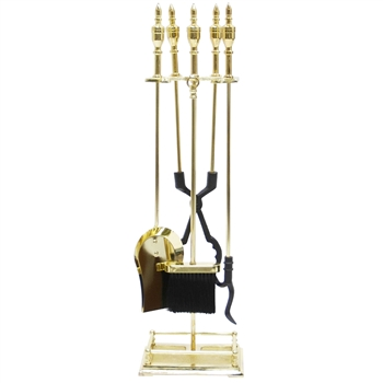 Pictured is the Polished Brass Urn Handle Tool Set manufactured by Minuteman