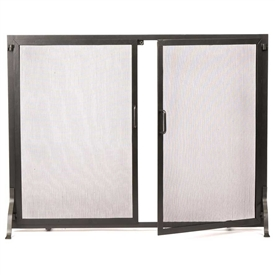 Pictured here is the Large Graphite Classic Hearth Screen with Doors.