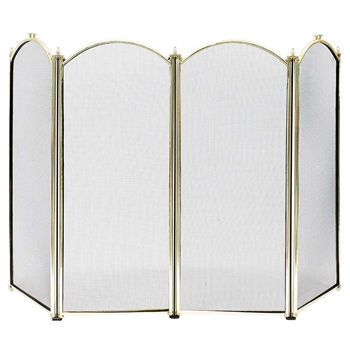 Pictured here is the 4-Fold Plated Brass Fireplace Screen  .