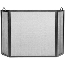 Pictured here is the Large Tri-Fold Twisted Rope Fireplace Screen.
