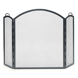 Pictured here is the Arched Tri-Folding Fireplace Screen.