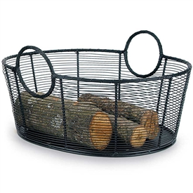 "Pictured here is the Large Steel Wire Log Basket which measures 25.5"" x 21.5"" x 13"" and manufactured by Minuteman."