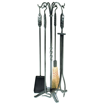 Pictured is the Iron Fireplace Tool Set with Leaf Design  manufactured by Minuteman