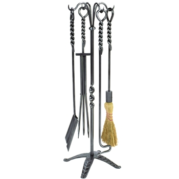 Pictured is the Rope Inspired 5 Piece Fireplace Tool Set  manufactured by Minuteman