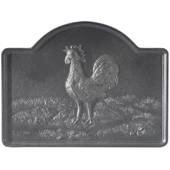 Pictured here is the Rooster Fireback that measures 25-inch x 19-inch