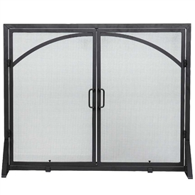 Pictured here is the Flat Fireplace Screen with Center Doors.