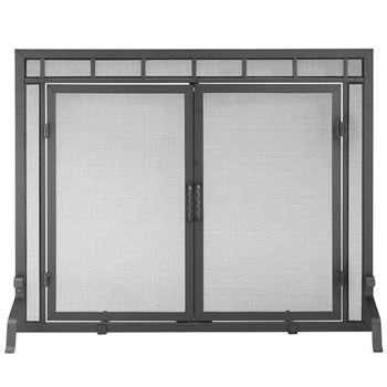 Pictured here is the Large Geo Design Fireplace Screen with Doors.