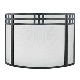 Pictured here is the Curved Gridwork Folding Hearth Screen.