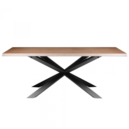 Pictured here is the Olso Rectangle Dining Table with Steel base and Walnut Veneer Top