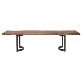 Pictured here is the Bent Rectangle Dining Table with Steel base and Acacia Top