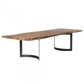 Pictured here is the Small Bent Rectangle Dining Table with Steel base and Acacia Top