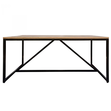 Pictured here is the Colvin Rectangle Dining Table with Steel base and Mango Wood Top