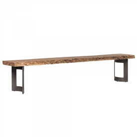 Pictured here is the Small Bent Rectangle Dining Table Bench with Steel base and Acacia Seat