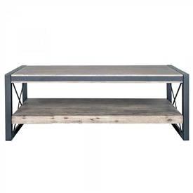Pictured here is the Bronx Rectangle Coffee Table with Iron base and Acacia Wood Top