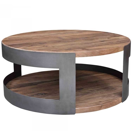 Pictured here is the April Coffee Table with Steel base and Acacia Top