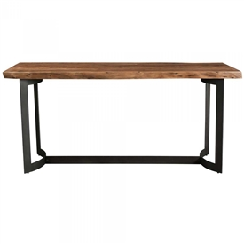 Pictured here is the Bent Counter Height Table with Steel base and Acacia Top