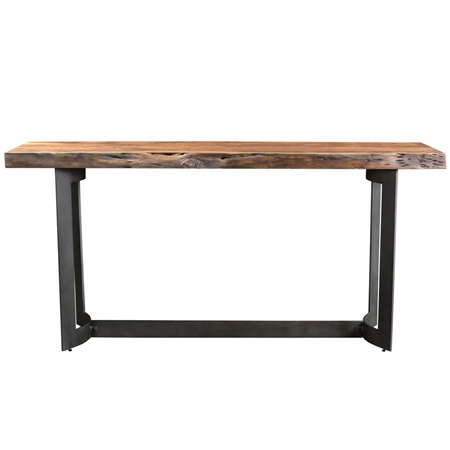 Pictured here is the Bent Console Table with Steel base and Acacia Top