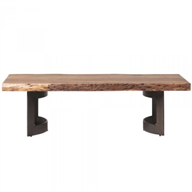Pictured here is the Bent Coffee Table with Steel base and Acacia Top