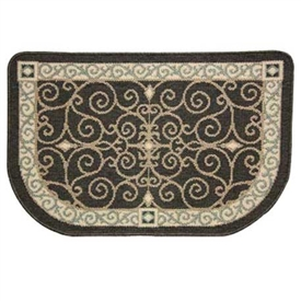 Pictured is the 35 inch x 22 1/2 inch Eastly Scroll Fire Resistant Hearth Rug  manufactured in America by Napa Forge.